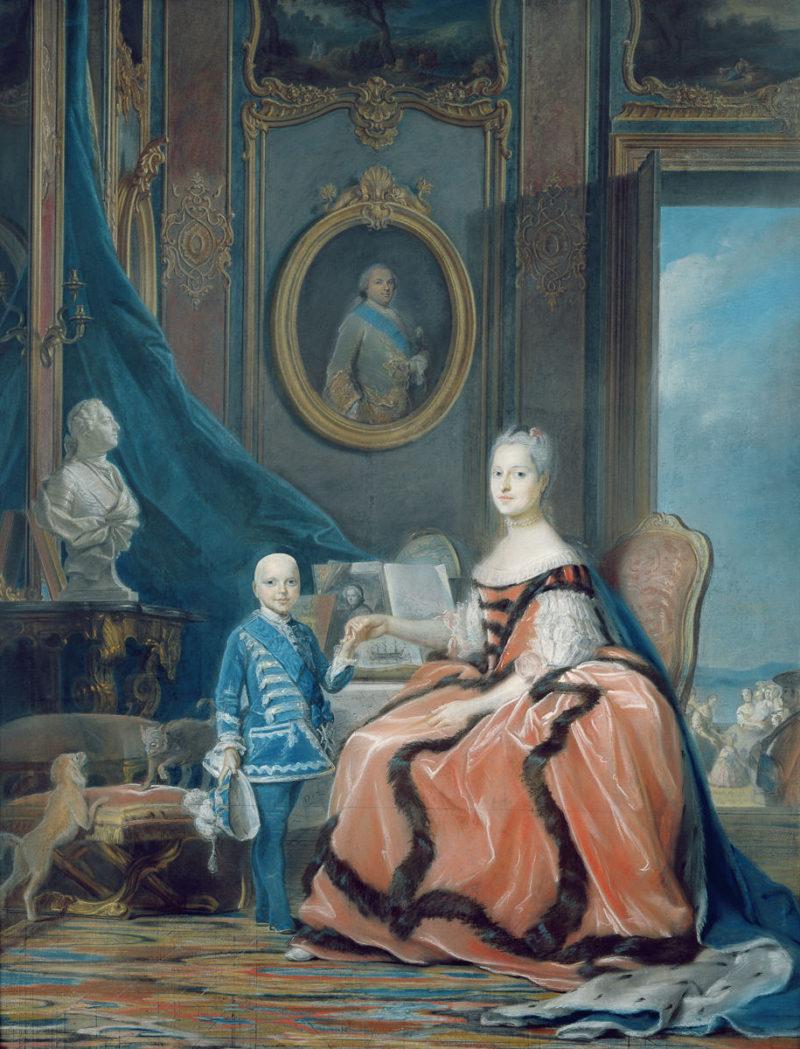 SL - Avec le temps… d'après Portrait de Marie-Josephe de Saxe et son fils Louis Joseph Xavier de France par Maurice Quentin de la Tour (1704-88)